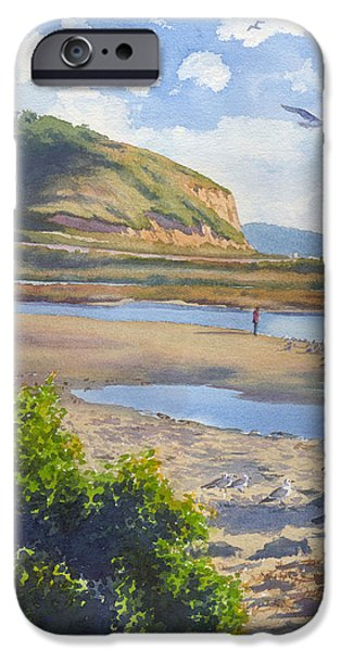 Pines Paintings iPhone Cases - Torrey Pines Inlet iPhone Case by Mary Helmreich