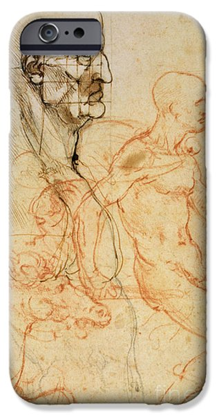 Drawing Of A Horse iPhone Cases - Torso of a Man in Profile iPhone Case by Leonardo da Vinci