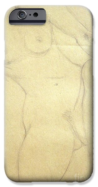 Monotone Drawings iPhone Cases - Torso sketch iPhone Case by Ted Pollard