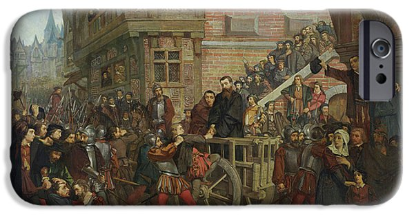 Martyr iPhone Cases - Torture Of Etienne Dolet 1509-46 Oil On Canvas iPhone Case by Leon Charles Adrien Bailly
