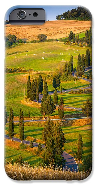 Tuscan Road iPhone Cases - Toscana Strada iPhone Case by Inge Johnsson