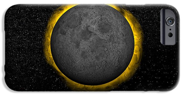 Solar Eclipse Digital iPhone Cases - Total Eclipse Of The Sun iPhone Case by Elena Duvernay