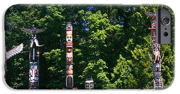 Stanley Park iPhone Cases - Totem Poles In A A Park, Stanley Park iPhone Case by Panoramic Images