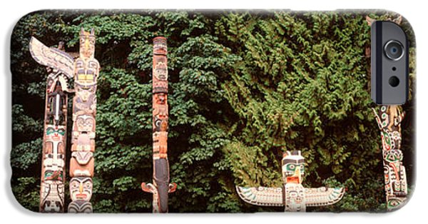 Stanley Park iPhone Cases - Totem Poles In A Park, Stanley Park iPhone Case by Panoramic Images