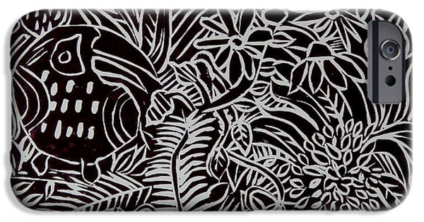Printmaking Paintings iPhone Cases - Jungle Scene with Toucan Black  iPhone Case by Caroline Street