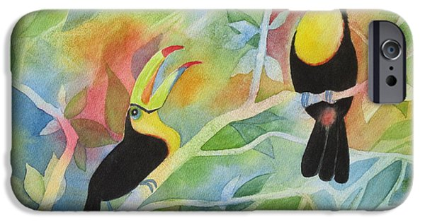 Yellow Beak Paintings iPhone Cases - Toucan Play at This Game iPhone Case by Deborah Ronglien