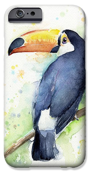 Watercolor Mixed Media iPhone Cases - Toucan Watercolor iPhone Case by Olga Shvartsur