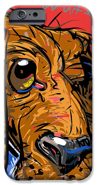 Dog Close-up Drawings iPhone Cases - Touch of Gray iPhone Case by Brett LaGue