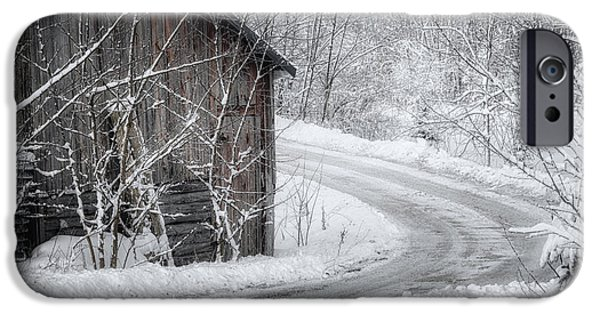 Old Barns iPhone Cases - Touched by Snow iPhone Case by Joan Carroll