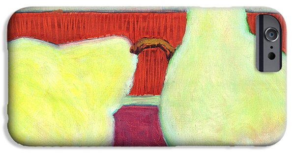 Pears iPhone Cases - Touching Pears Art Painting iPhone Case by Blenda Studio