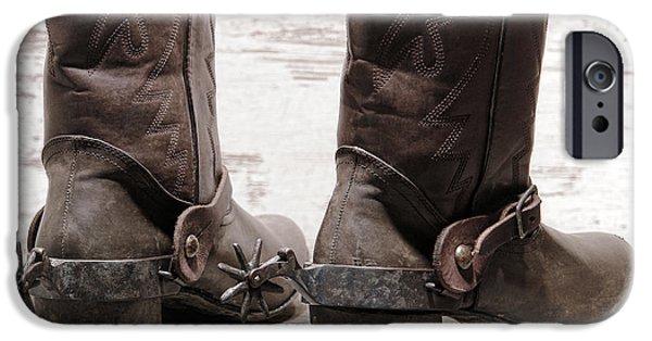 Boots iPhone Cases - Tough Spurs iPhone Case by Olivier Le Queinec