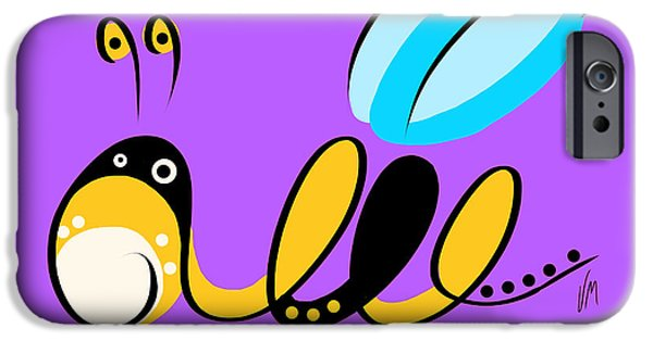 Bee iPhone Cases - Thoughts and colors series bee iPhone Case by Veronica Minozzi