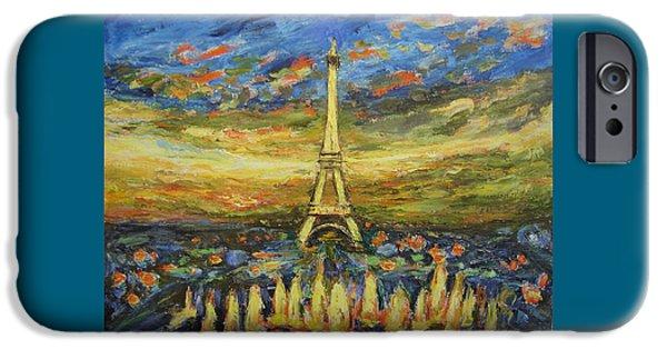 Fontain iPhone Cases - Tour Eiffel avec la fontaine. iPhone Case by Agnieszka Praxmayer