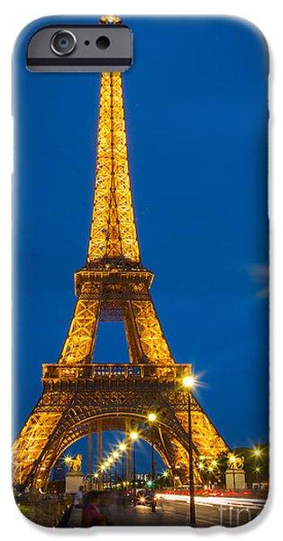 Streetlight iPhone Cases - Tour Eiffel de Nuit iPhone Case by Inge Johnsson
