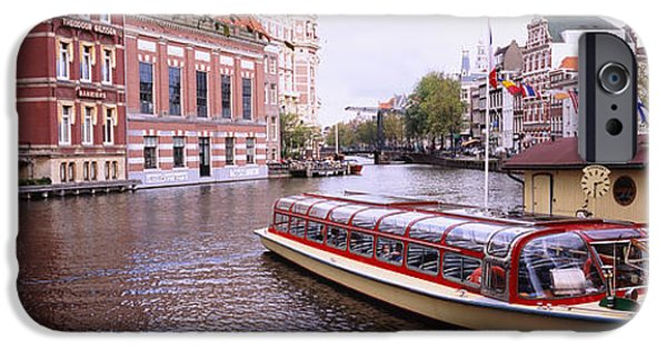 Reflection Of Trees iPhone Cases - Tourboat In A Channel, Amsterdam iPhone Case by Panoramic Images
