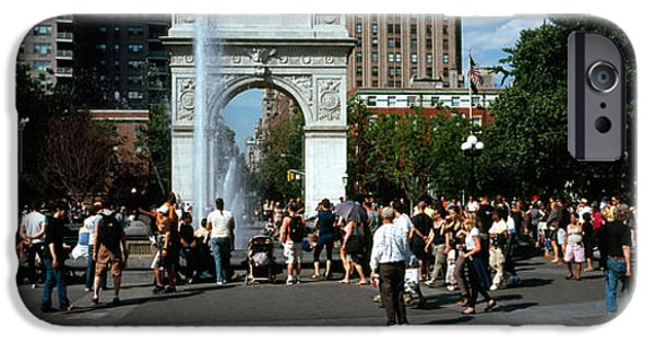 Built Structure iPhone Cases - Tourists At A Park, Washington Square iPhone Case by Panoramic Images