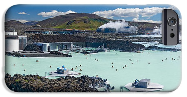 Healthcare And Medicine iPhone Cases - Tourists At A Spa Lagoon, Blue Lagoon iPhone Case by Panoramic Images