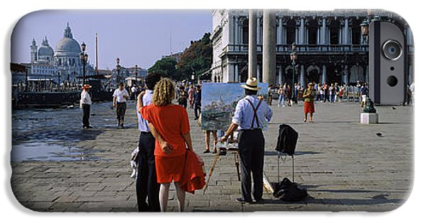 Piazza San Marco iPhone Cases - Tourists At A Town Square, St. Marks iPhone Case by Panoramic Images
