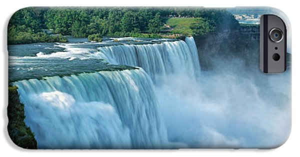 Niagara Falls iPhone Cases - Tourists At A Waterfall, Niagara Falls iPhone Case by Panoramic Images