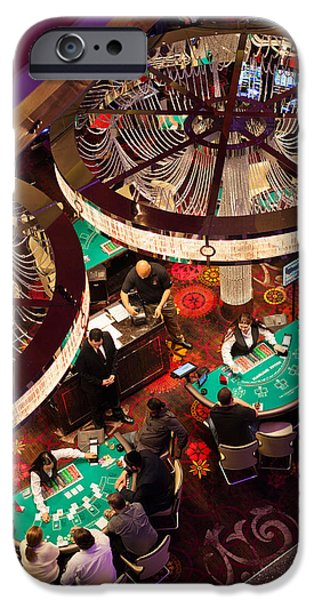 Chance iPhone Cases - Tourists At Blackjack Tables In Casino iPhone Case by Panoramic Images