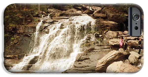 Fall iPhone Cases - Tourists At Kaaterskill Falls, Catskill iPhone Case by Panoramic Images