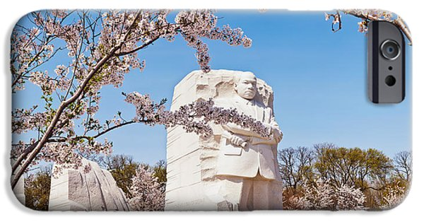 Cherry Blossoms iPhone Cases - Tourists At Martin Luther King Jr iPhone Case by Panoramic Images