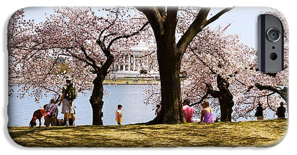Cherry Blossoms iPhone Cases - Tourists In A Park With A Memorial iPhone Case by Panoramic Images