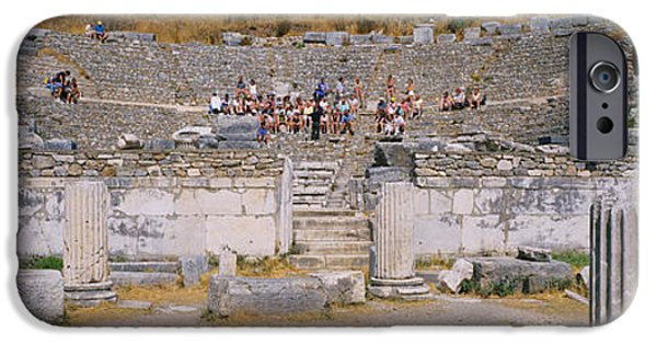 Ephesus iPhone Cases - Tourists In A Temple, Temple Of iPhone Case by Panoramic Images