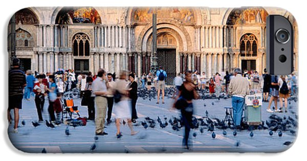 Piazza San Marco iPhone Cases - Tourists In Front Of A Cathedral, St iPhone Case by Panoramic Images