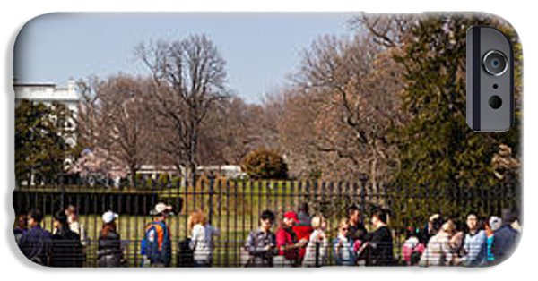 White House iPhone Cases - Tourists In Front Of White House iPhone Case by Panoramic Images