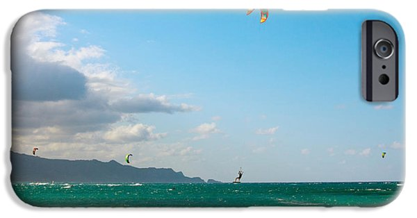 Kiteboarding iPhone Cases - Tourists Kiteboarding In The Ocean iPhone Case by Panoramic Images