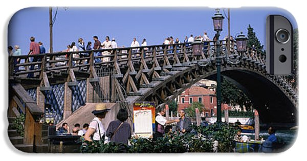 Built Structure iPhone Cases - Tourists On A Bridge, Accademia Bridge iPhone Case by Panoramic Images