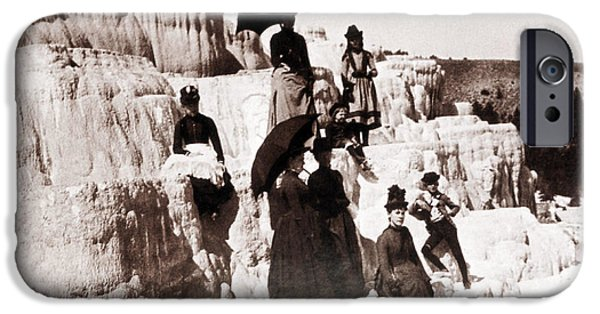 Mammoth Terrace iPhone Cases - Tourists On Mammoth Terraces iPhone Case by NPS Photo