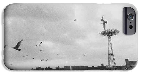 Flying Seagull iPhone Cases - Tourists On The Beach, Coney Island iPhone Case by Panoramic Images