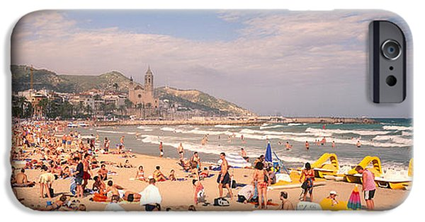 Surf Lifestyle Photographs iPhone Cases - Tourists On The Beach, Sitges, Spain iPhone Case by Panoramic Images