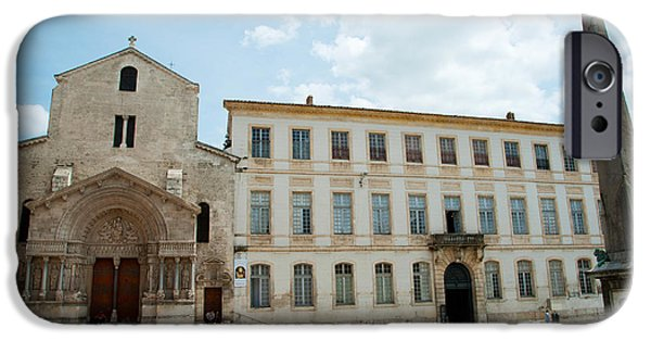 Arles iPhone Cases - Tourists Outside The Church Of St iPhone Case by Panoramic Images