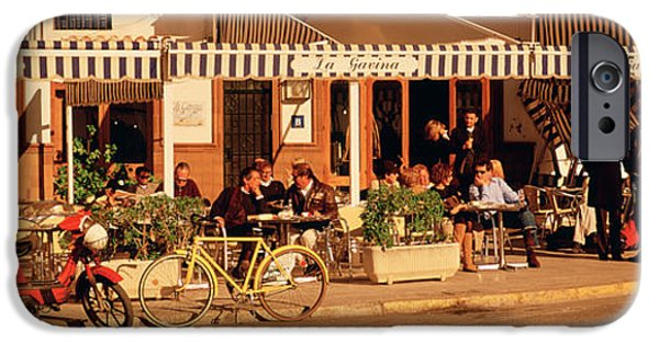 Group Of Objects iPhone Cases - Tourists Sitting In A Cafe, Sitges iPhone Case by Panoramic Images