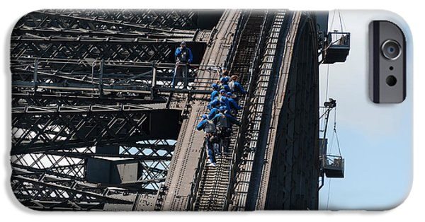 Built Structure iPhone Cases - Tourists Strapped Together For Climb iPhone Case by Panoramic Images