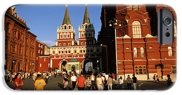 Built Structure iPhone Cases - Tourists Walking In Front Of A Museum iPhone Case by Panoramic Images