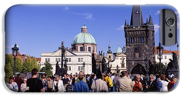 Art Of Building iPhone Cases - Tourists Walking In Front iPhone Case by Panoramic Images