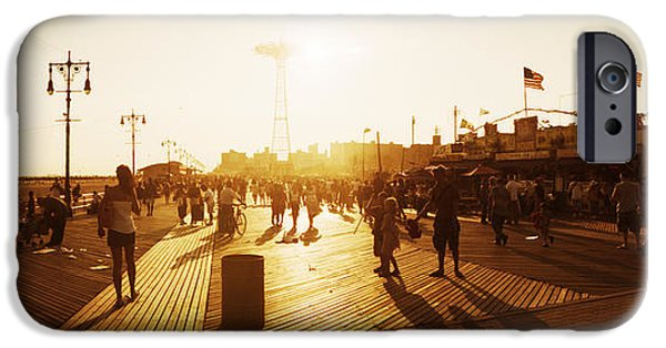 Built Structure iPhone Cases - Tourists Walking On A Boardwalk, Coney iPhone Case by Panoramic Images