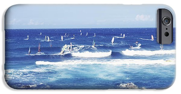 Board iPhone Cases - Tourists Windsurfing, Hookipa Beach iPhone Case by Panoramic Images