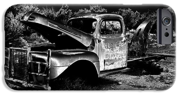 Tow Truck iPhone Cases - Tow Truck in the Desert iPhone Case by David Lee Thompson