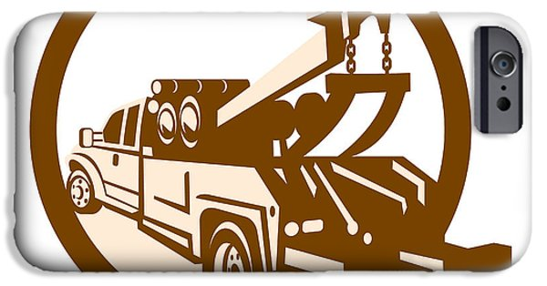 Tow Truck iPhone Cases - Tow Truck Wrecker Rear Retro iPhone Case by Aloysius Patrimonio
