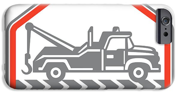 Tow Truck iPhone Cases - Tow Wrecker Truck Side Retro iPhone Case by Aloysius Patrimonio