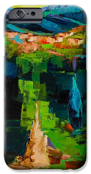 Tuscan Hills Paintings iPhone Cases - Toward the tuscan village iPhone Case by Elise Palmigiani