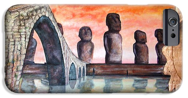 Sunset Reliefs iPhone Cases - Towards other civilizations iPhone Case by Anna Maria Guarnieri