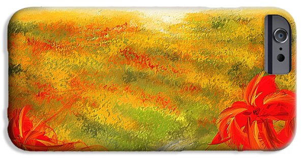 Red And Yellow iPhone Cases - Towards The Brightness - Fields Of Poppies Painting iPhone Case by Lourry Legarde