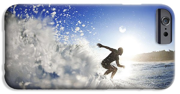 Surf Silhouette iPhone Cases - Towards the light iPhone Case by Sean Davey