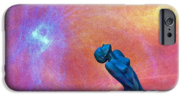 Blue Fireworks iPhone Cases - Towards the sky iPhone Case by Catherine Arnas